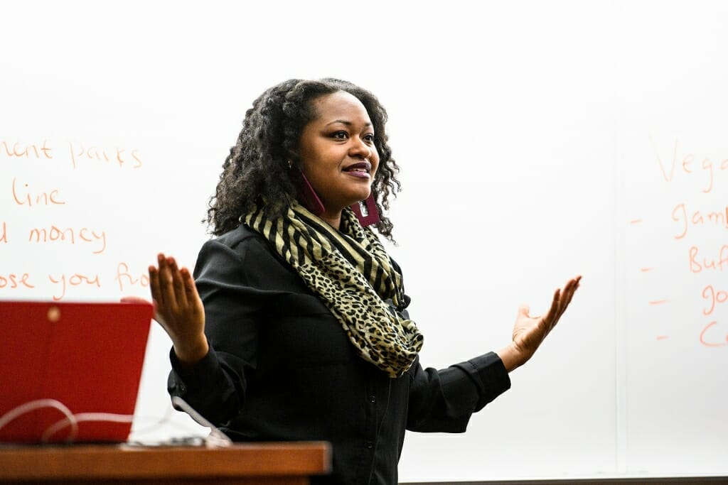 Bianca Baldridge lectures to students during her Education Policy 210: Youth, Education and Society class in the Education Building.