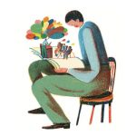 illustration of seated man opening book, revealing tiny classroom